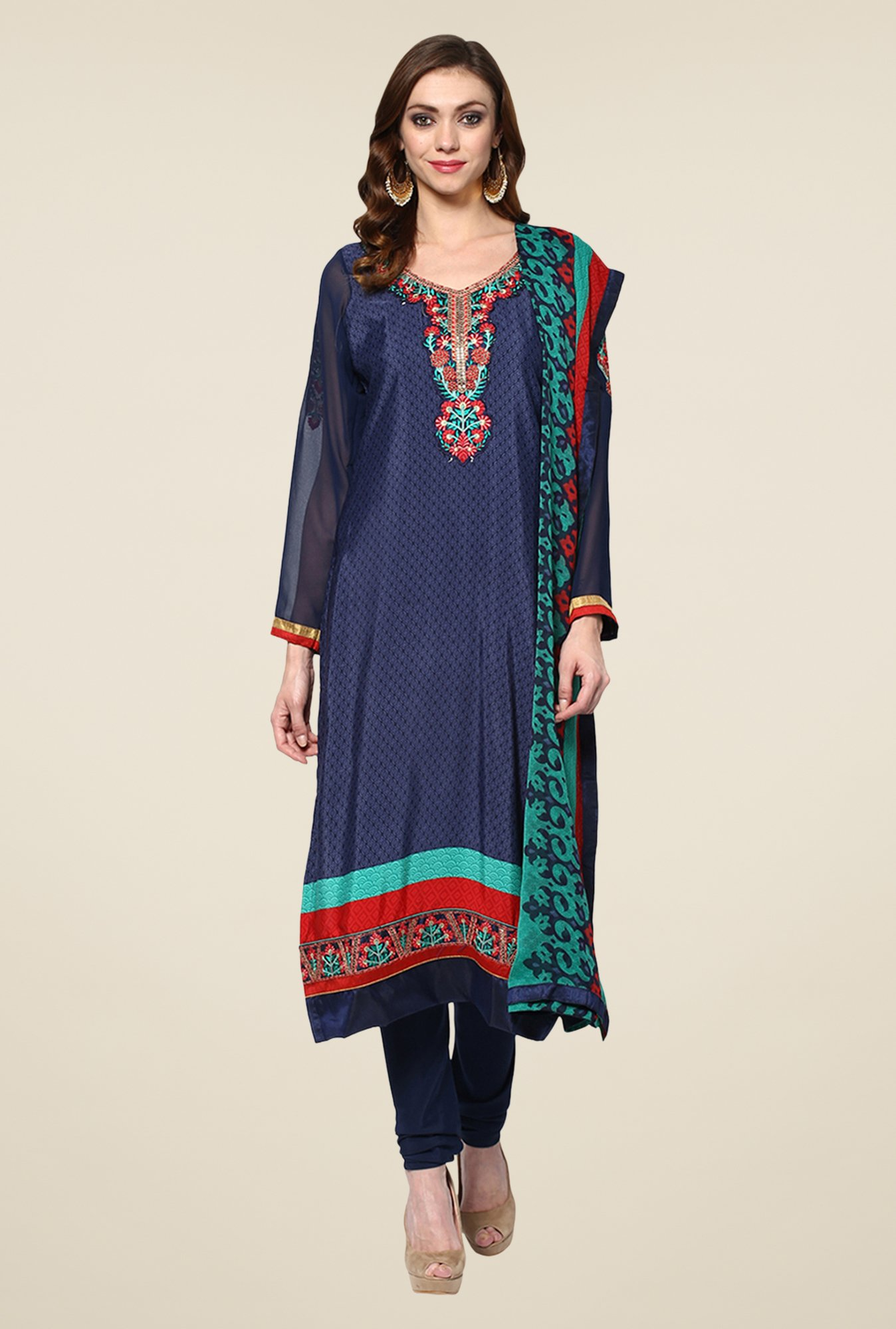 Yepme Navy Uschi Semi Stitched Suit Set