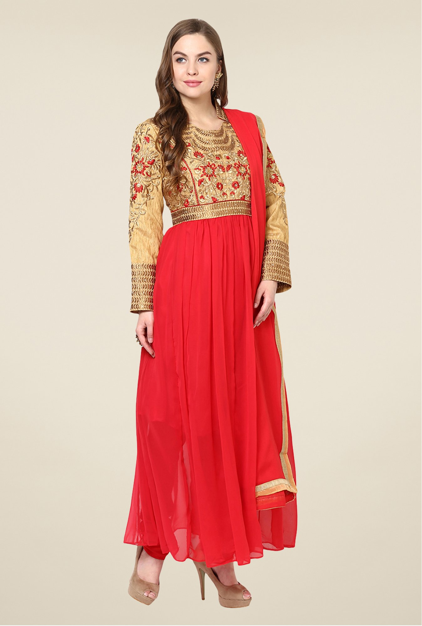 Yepme Red Quy Semi Stitched Suit Set