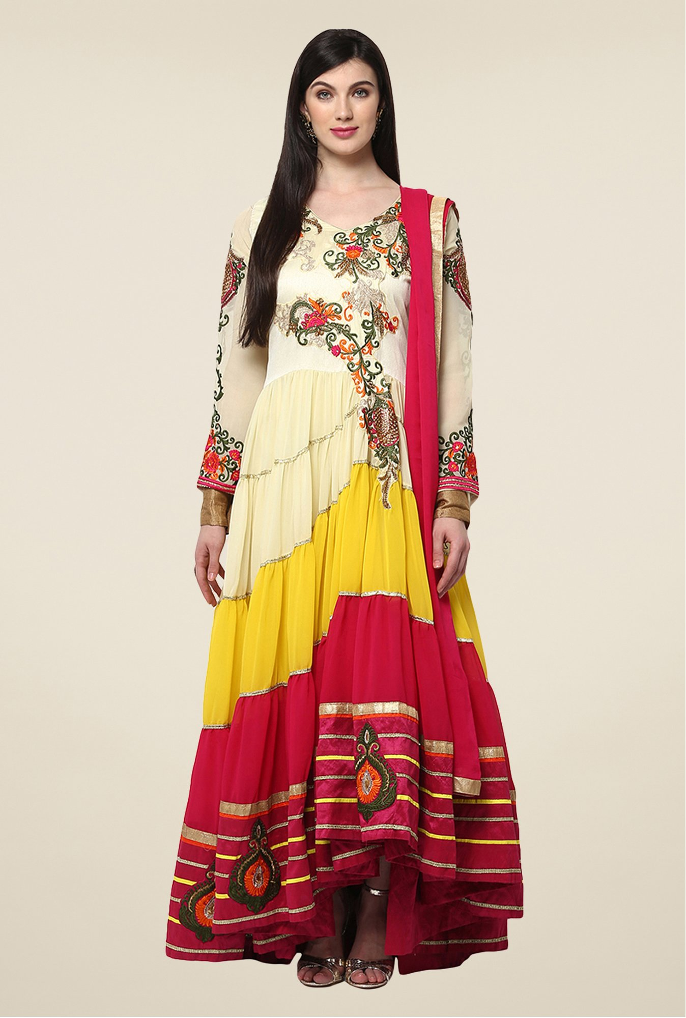 Yepme Multicolor Iesha Semi Stitched Suit Set