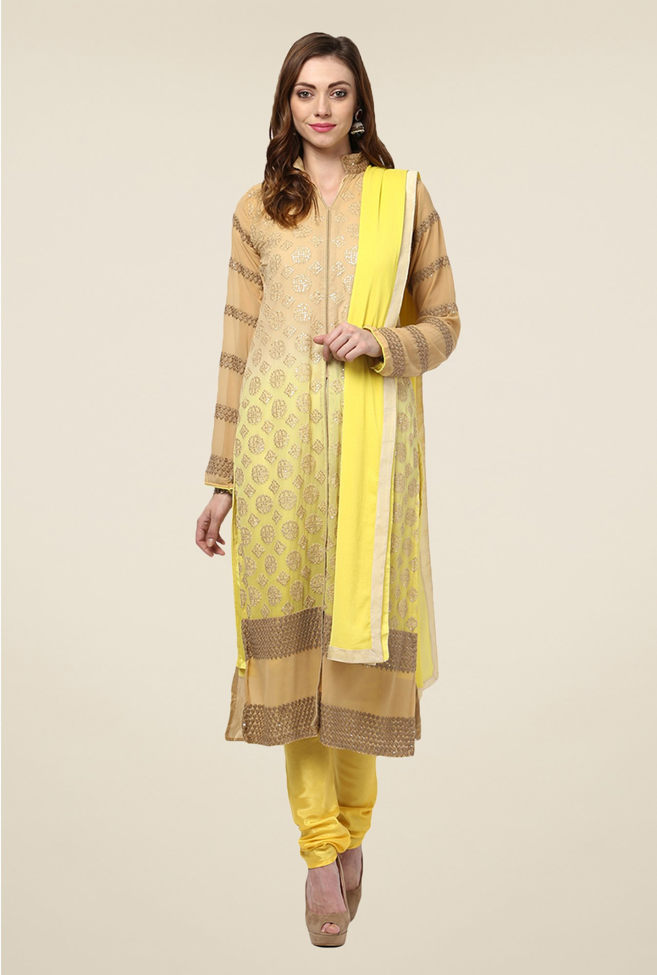 Yepme Beige & Yellow Helga Semi Stitched Suit Set
