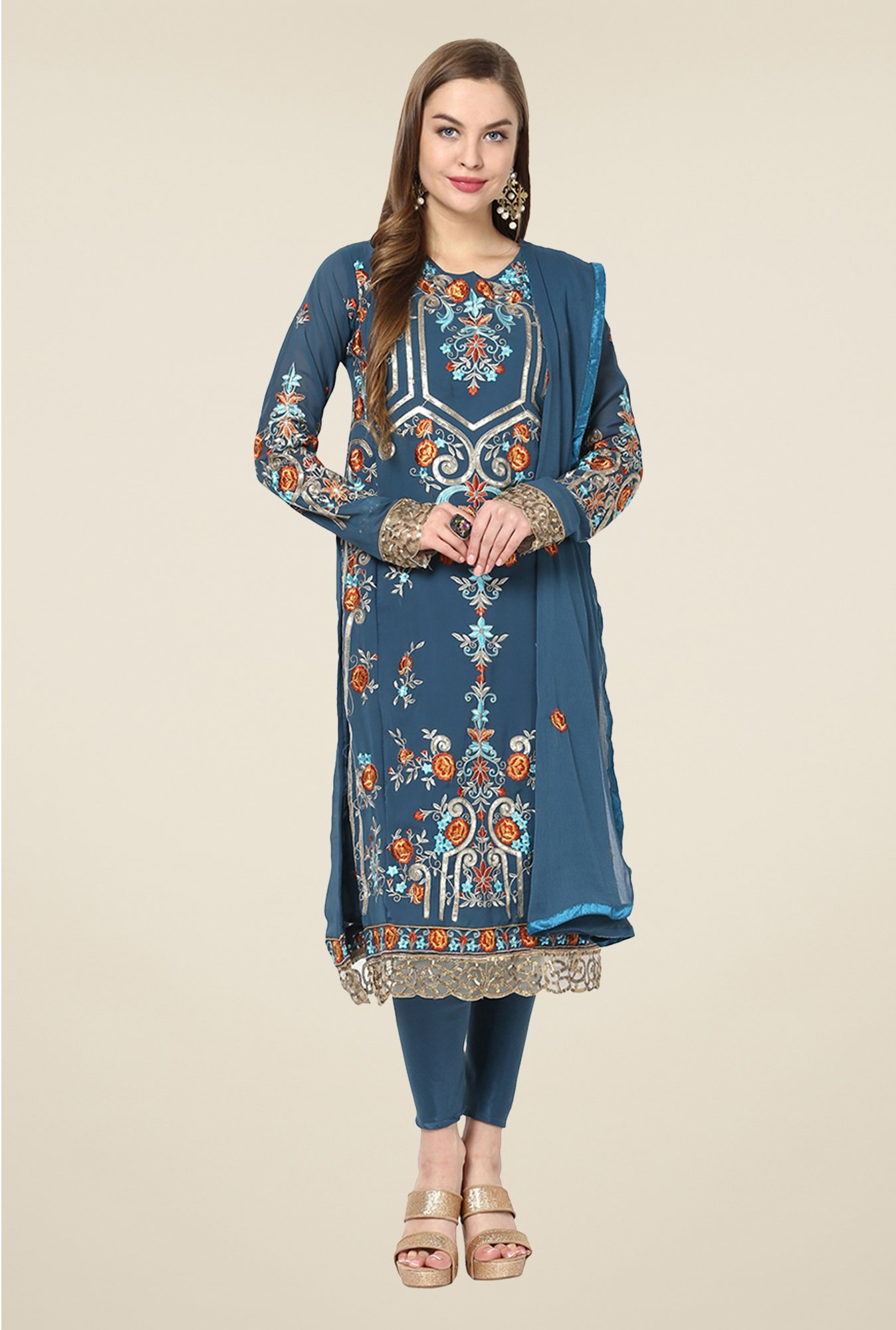 Yepme Blue Ceren Semi Stitched Suit Set