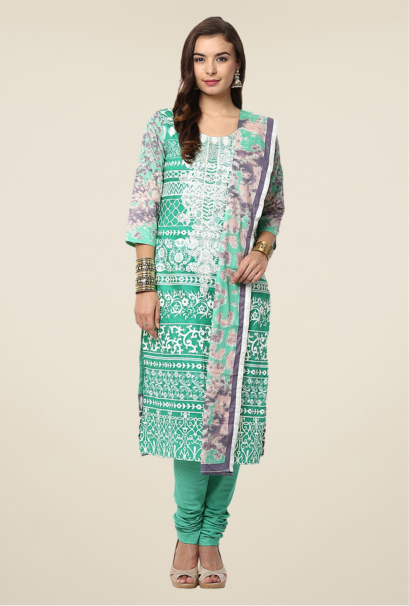 Yepme Green Nazia Semi Stitched Pakistani Suit Set