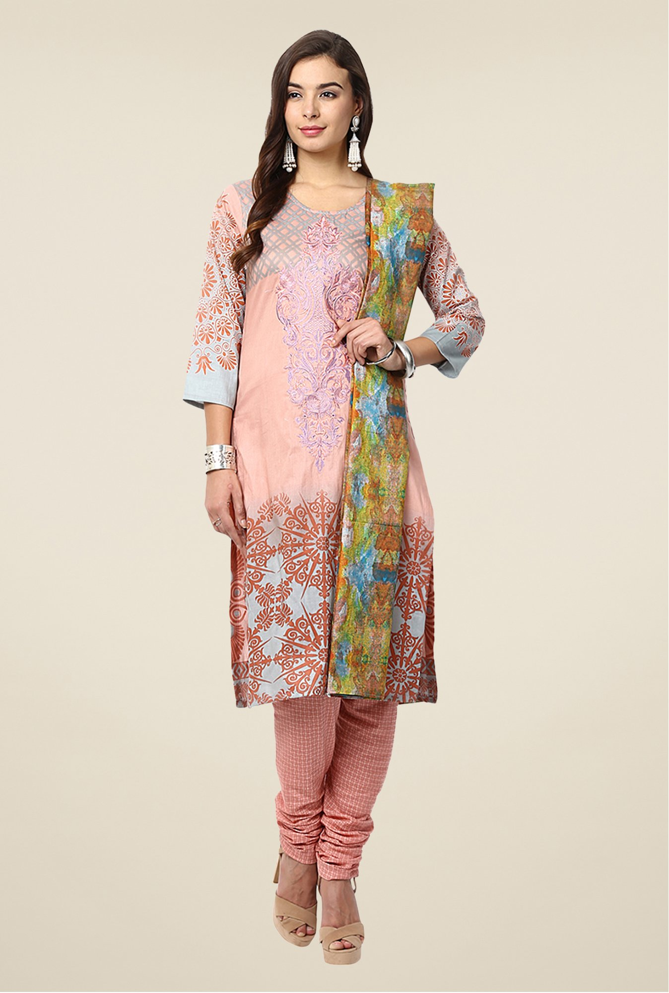 Yepme Peach Nazia Semi Stitched Pakistani Suit Set