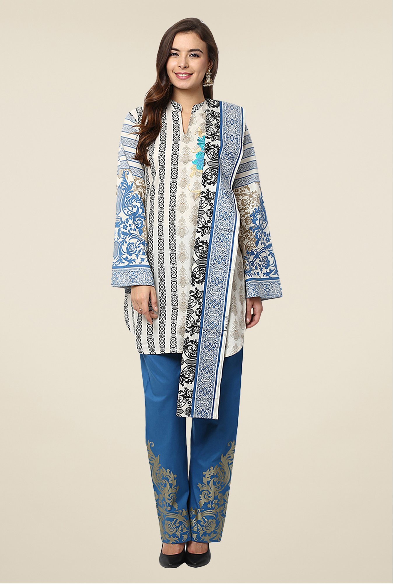 Yepme Beige & Blue Nazia Semi Stitched Pakistani Suit Set