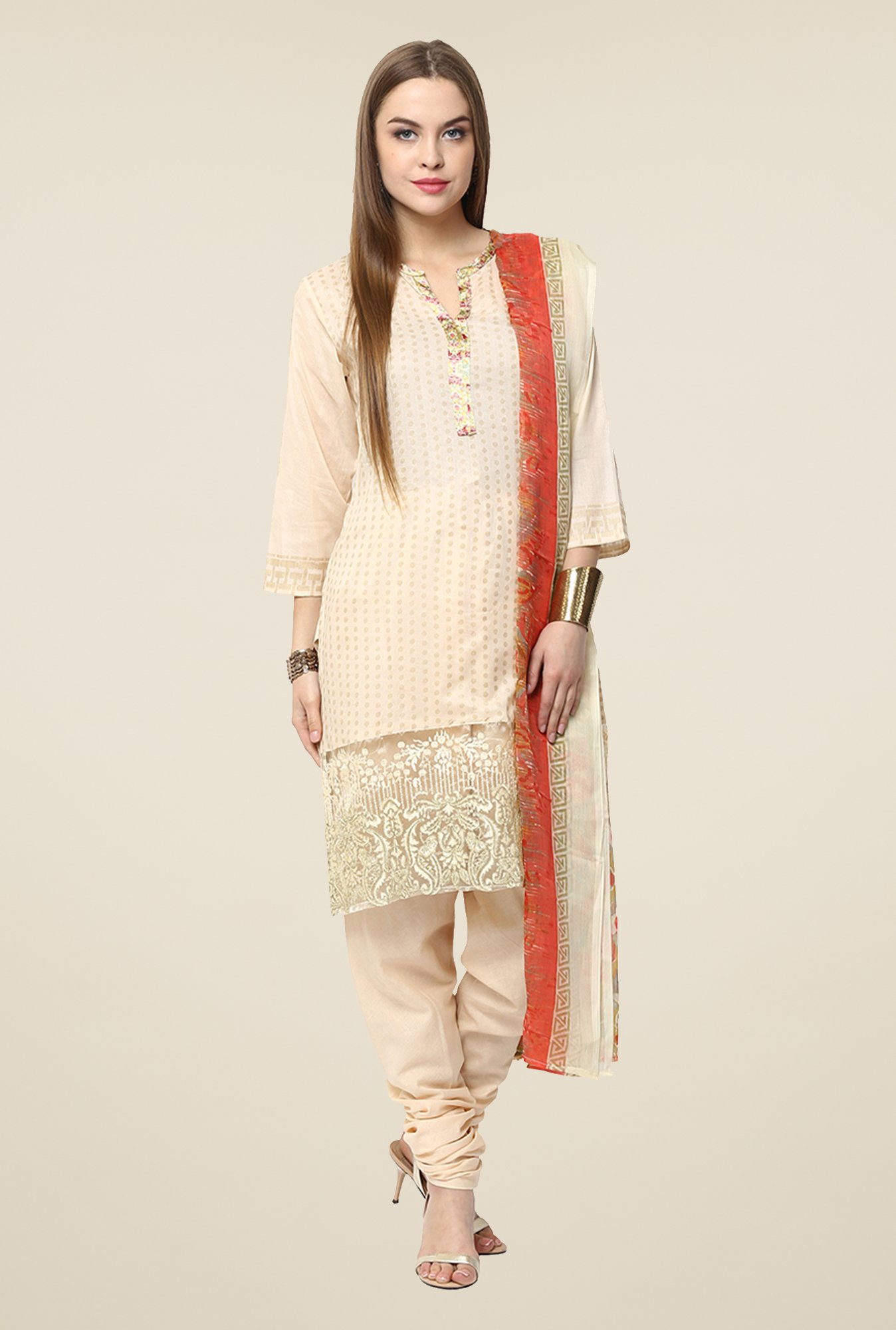 Yepme Peach Anaya Semi Stitched Pakistani Suit Set