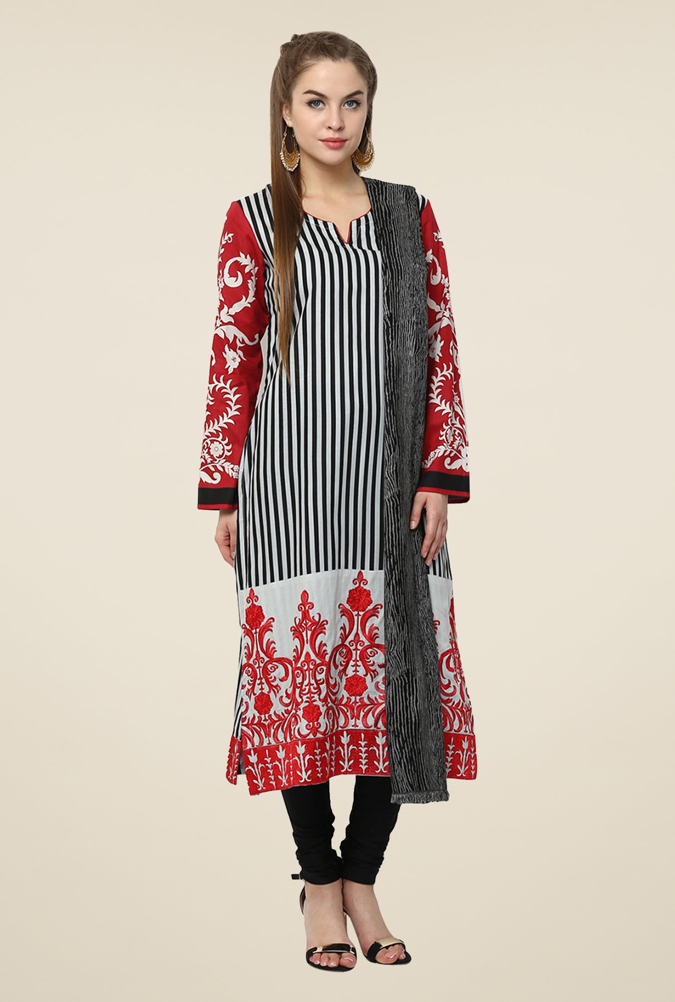 Yepme Black & Red Nuzen Semi Stitched Pakistani Kurti Set