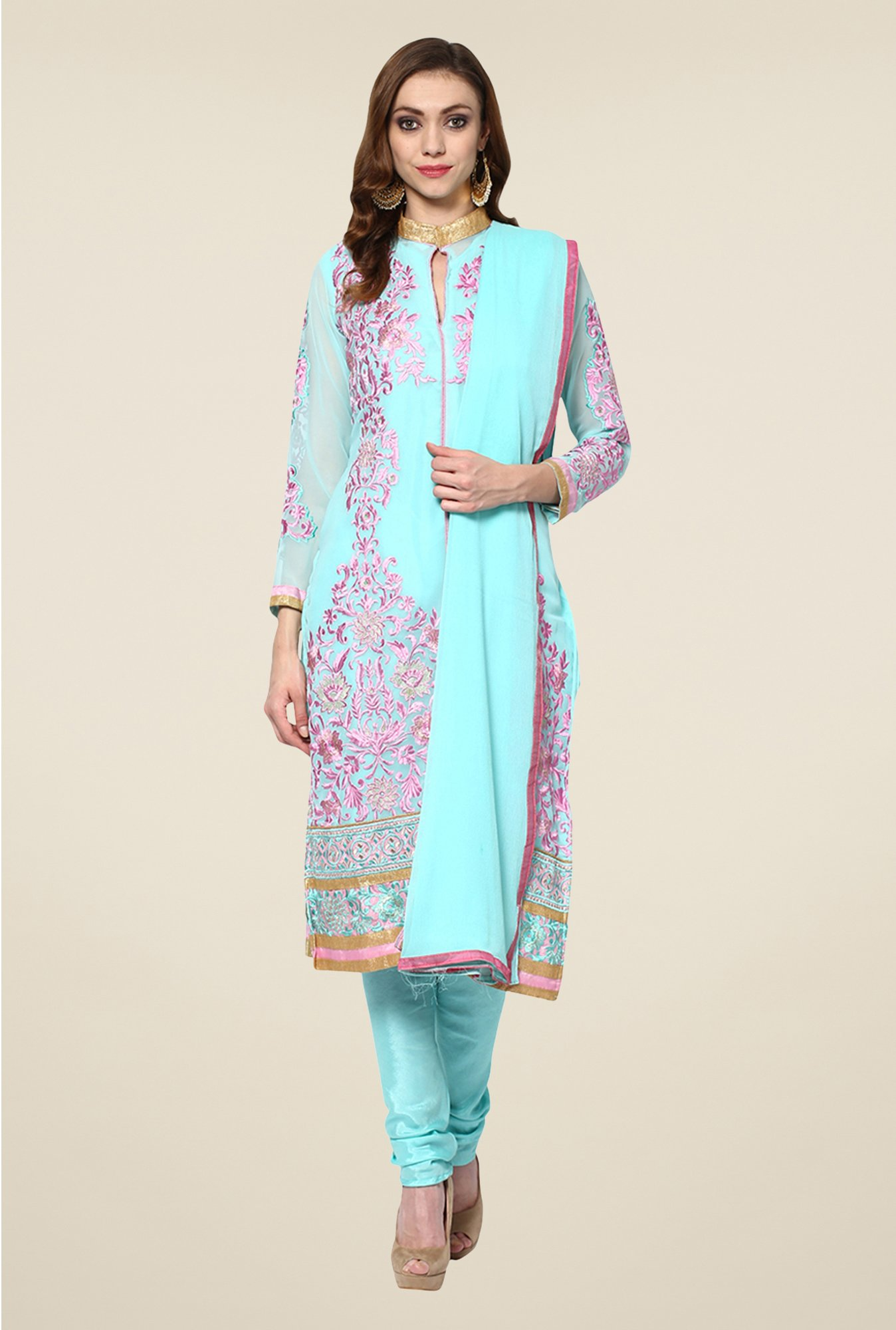 Yepme Blue Cadence Semi Stitched Suit Set