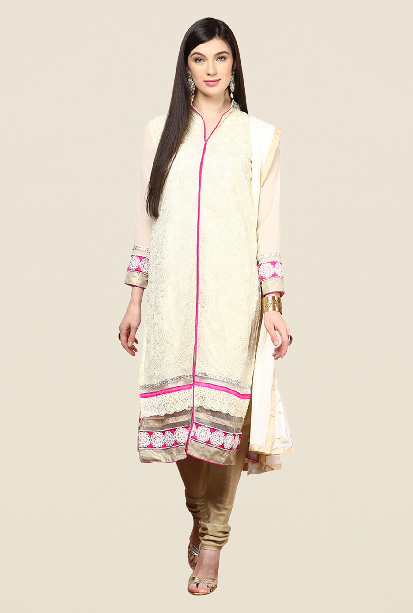 Yepme Beige Basia Semi Stitched Suit Set