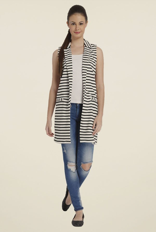 Only White & Black Striped Jacket