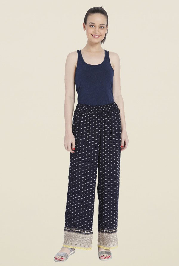 Only Navy Printed Palazzos