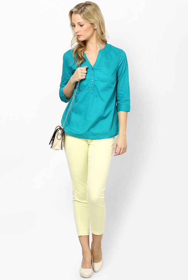 Only Teal Solid Top