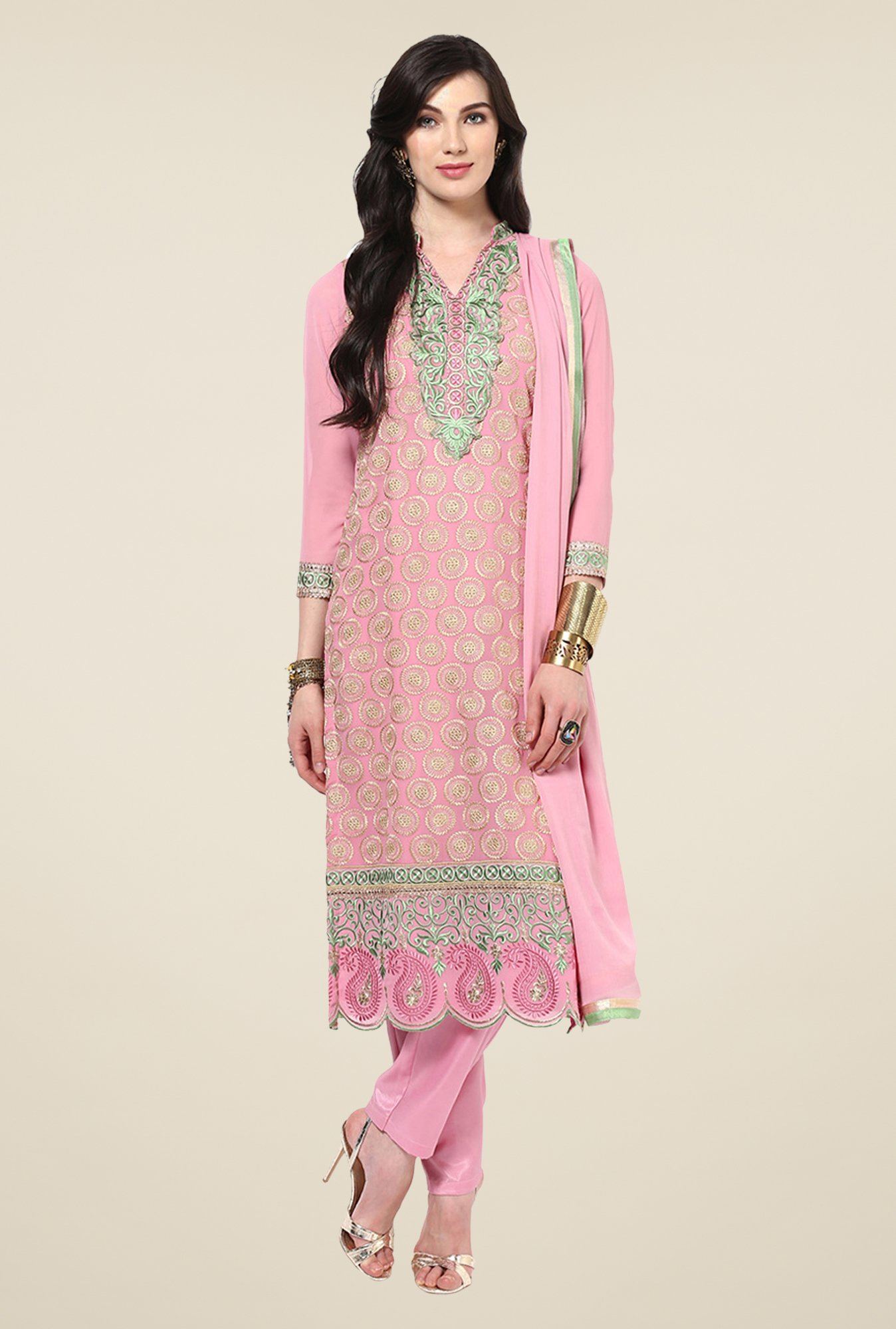 Yepme Romana Pink Embroidered Unstitched Suit Set