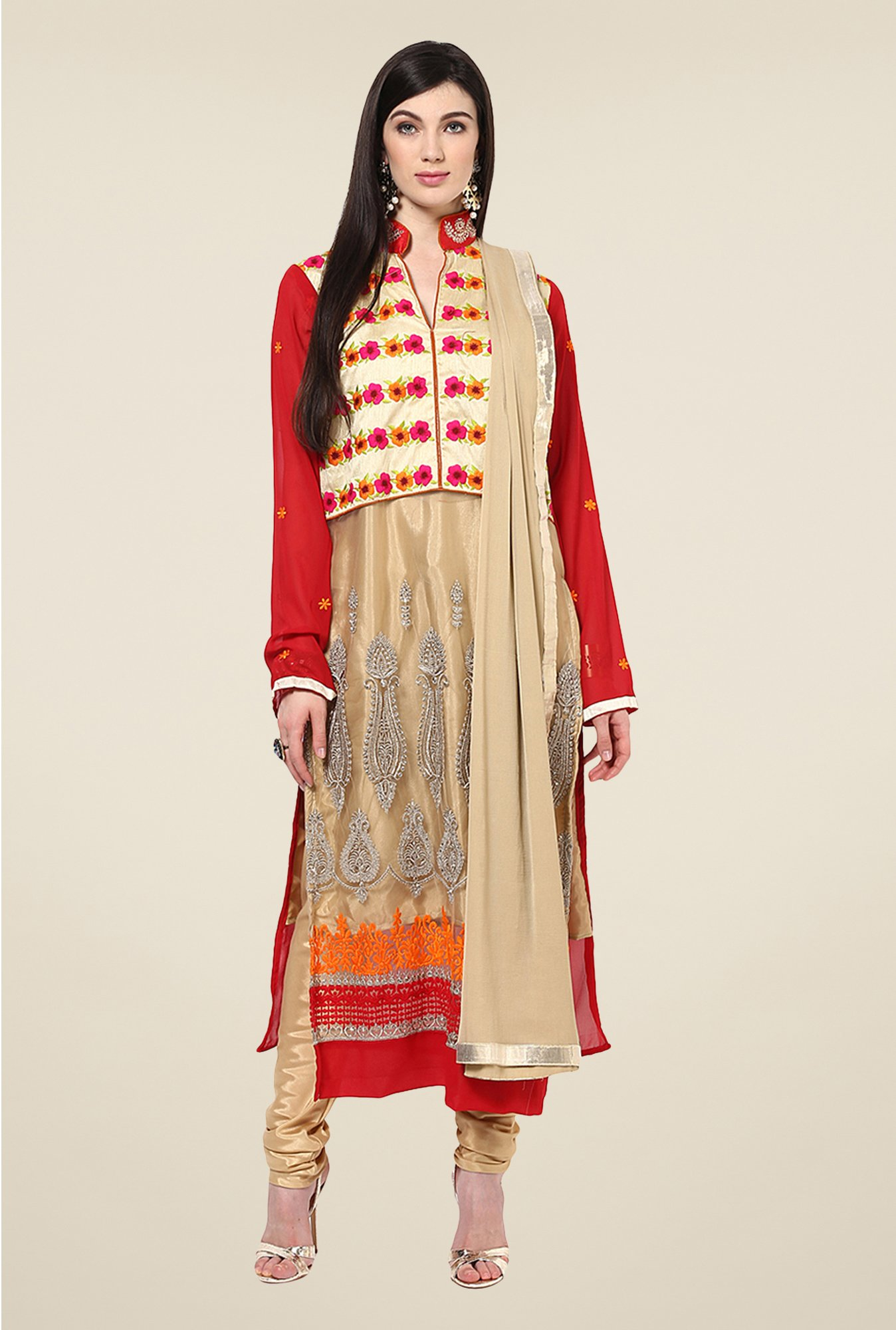 Yepme Helga Beige & Red Unstitched Suit Set