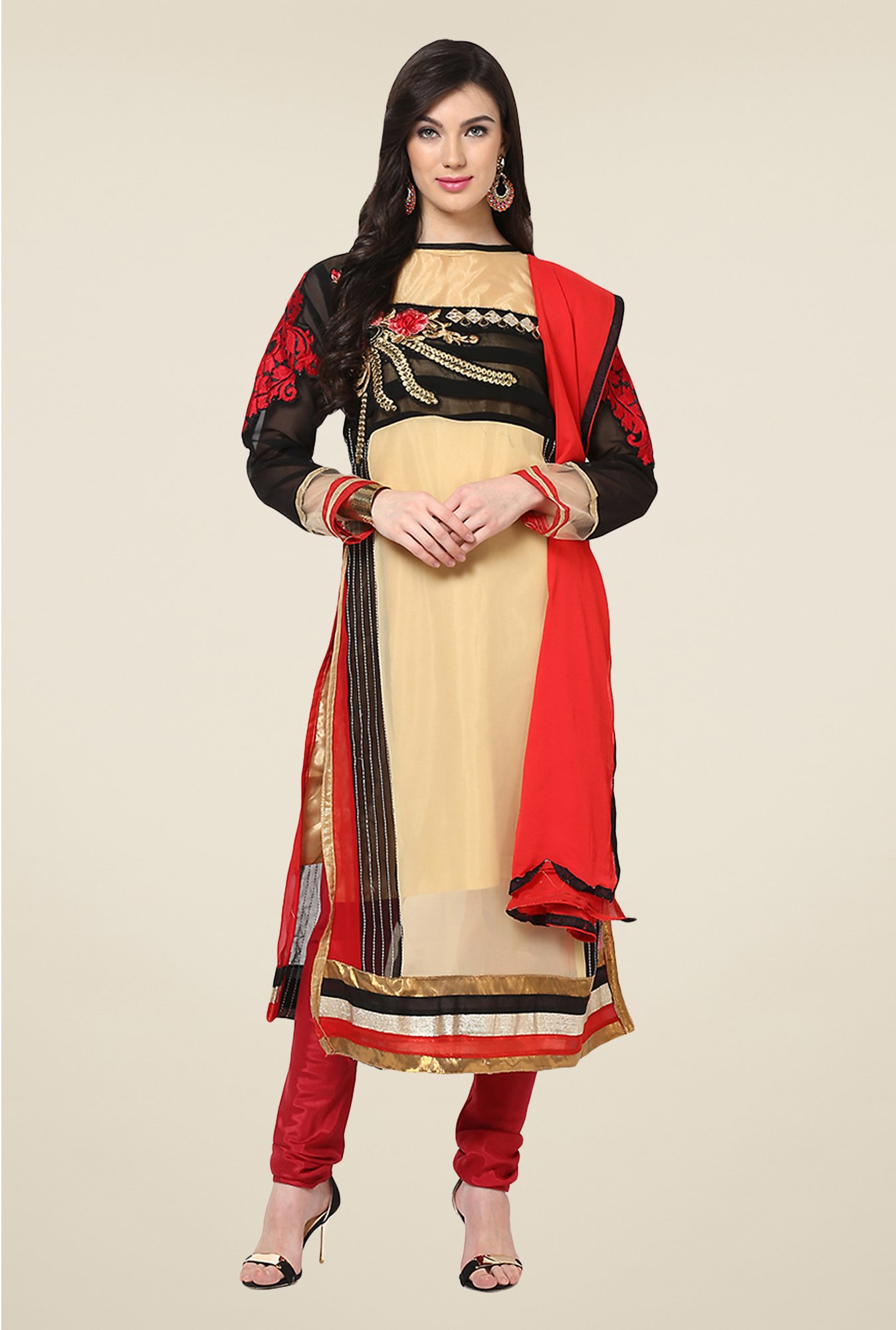 Yepme Cadence Beige & Red Unstitched Suit Set