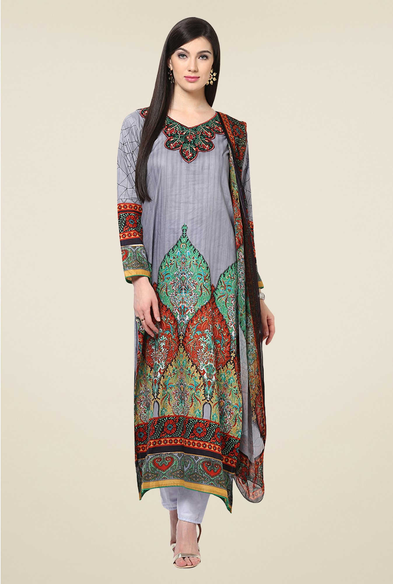 Yepme Calista Grey Salwar Kameez Set