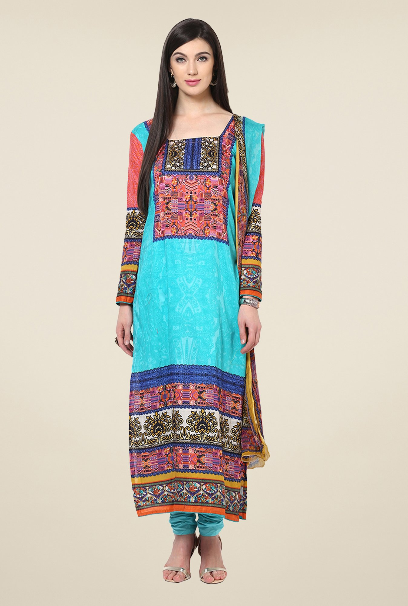 Yepme Calista Turquoise Unstitched Suit Set