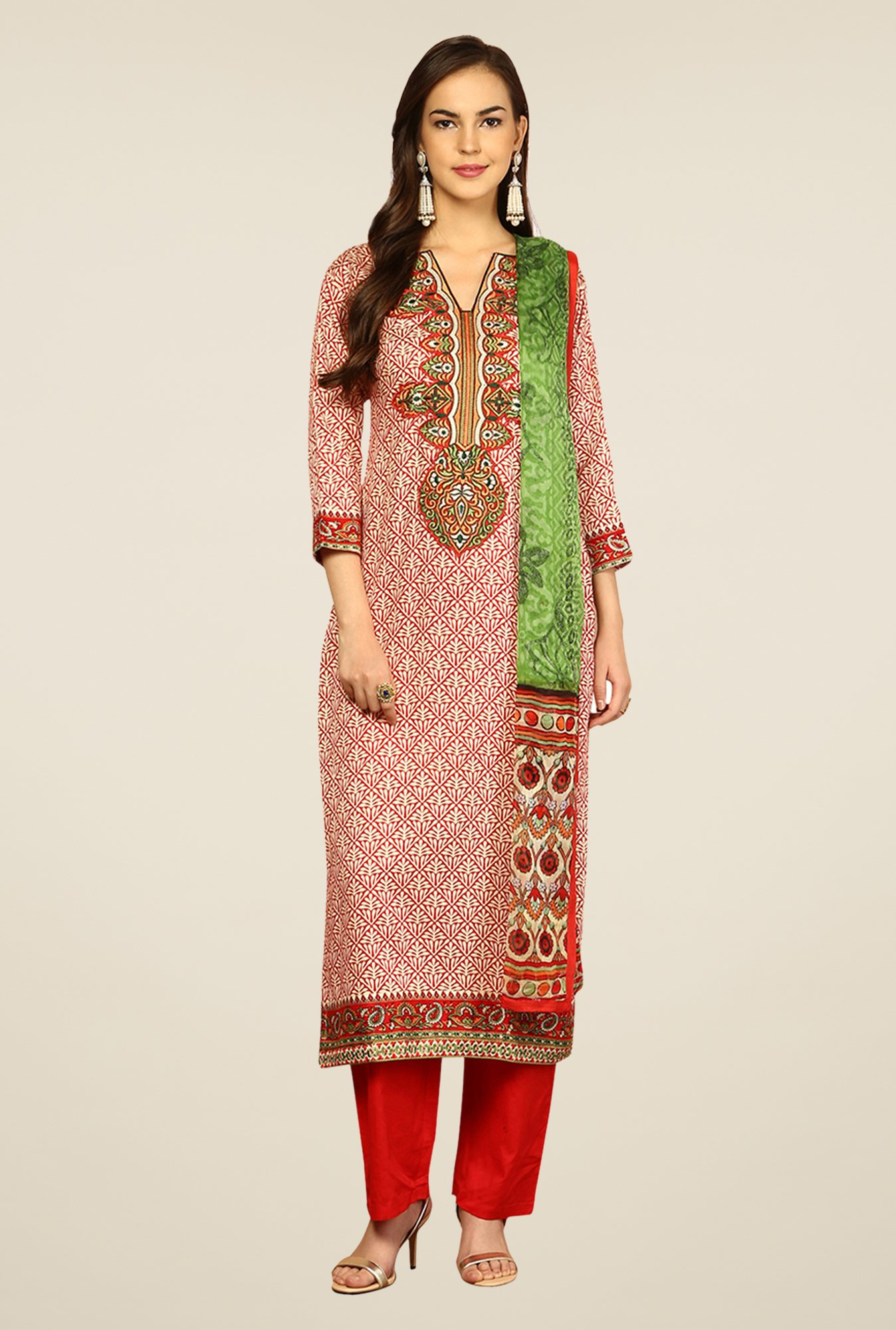 Yepme Rosabelle Red & Orange Unstitched Suit Set