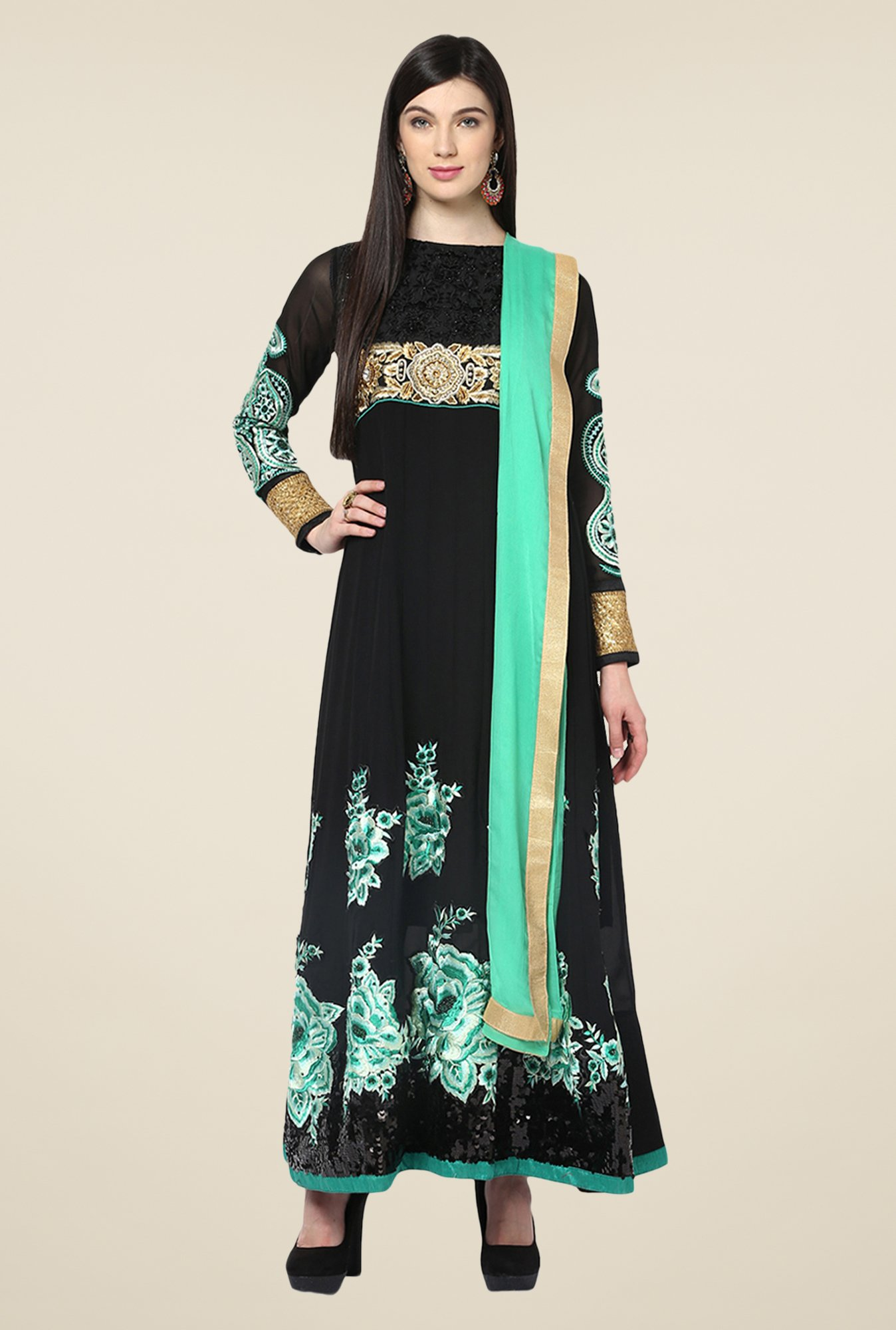 Yepme Black Sakeena Unstitched Suit Set