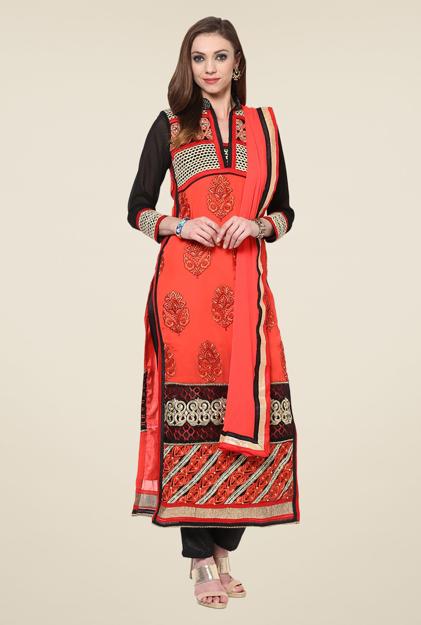 Yepme Raakel Red & Black Unstitched Suit Set