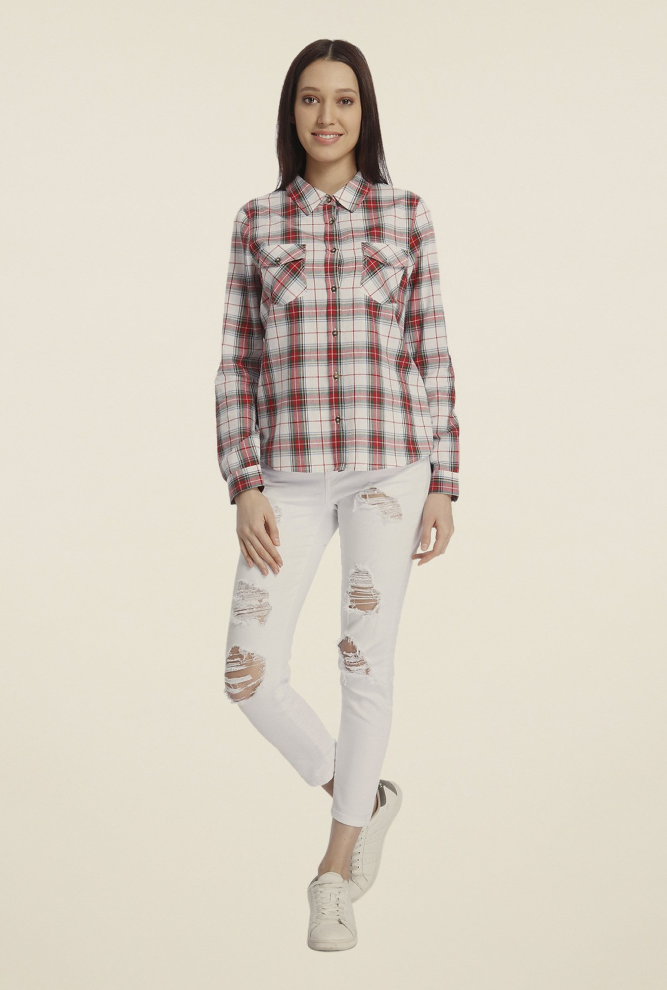 Vero Moda Red & White Checked Shirt
