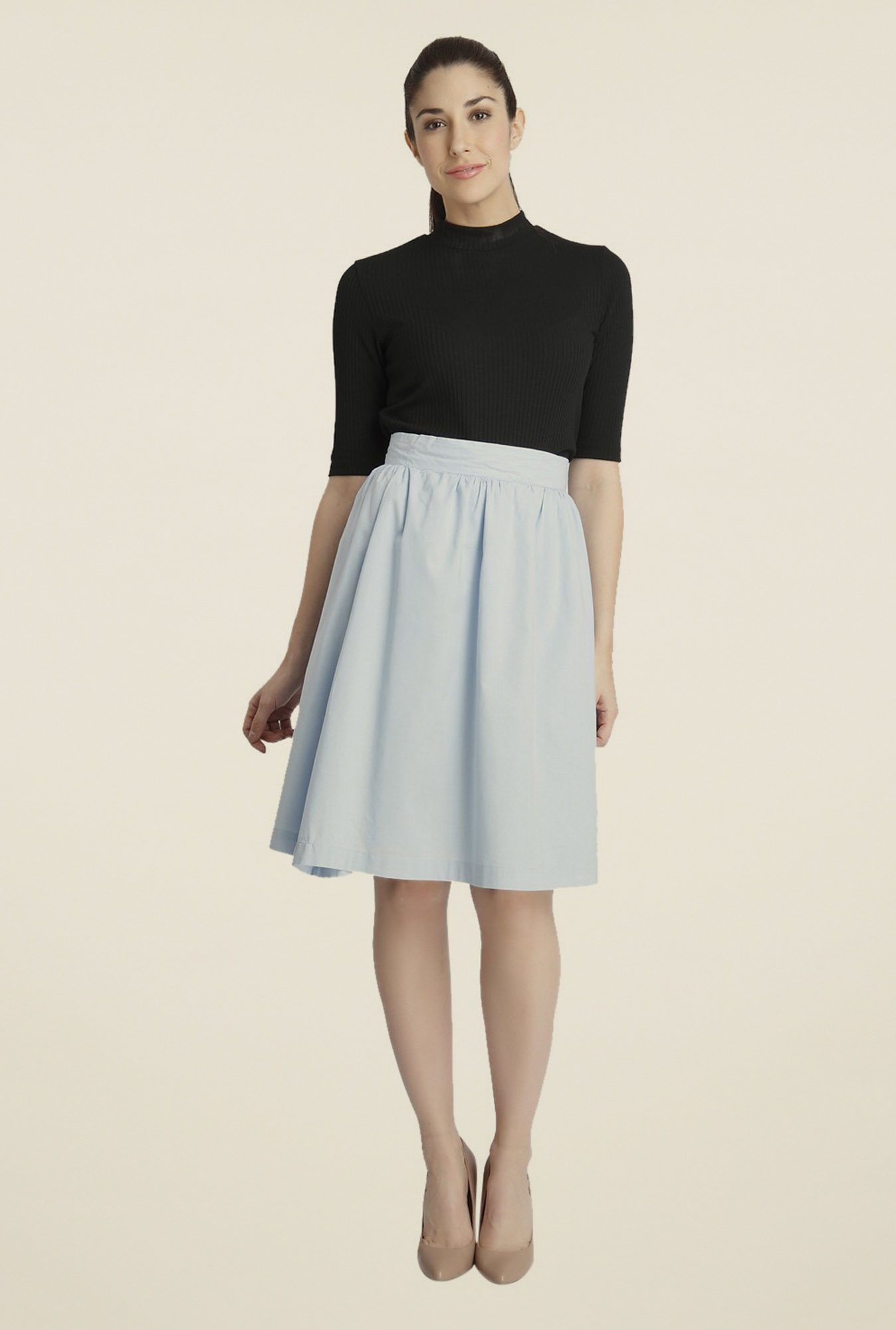 Vero Moda Light Blue Solid Skirt
