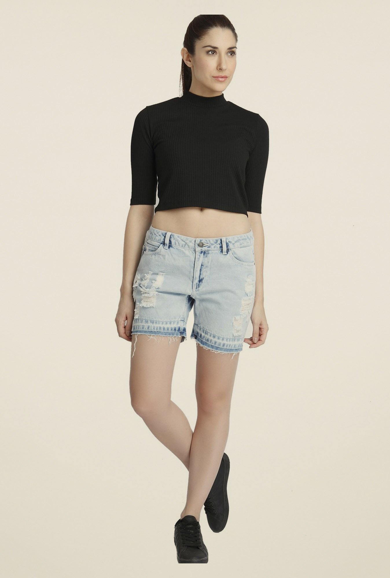 Vero Moda Blue Distressed Shorts