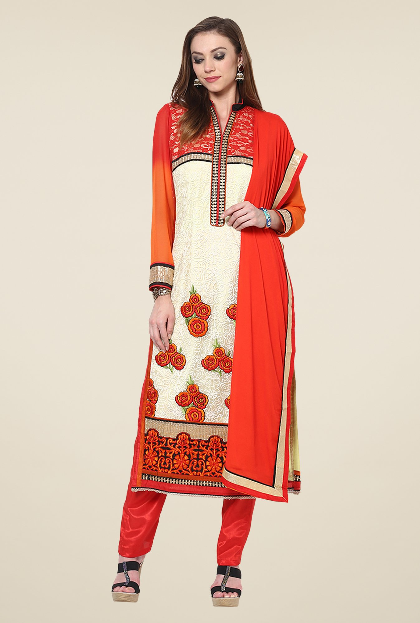 Yepme Vivaana Beige & Red Unstitched Suit Set