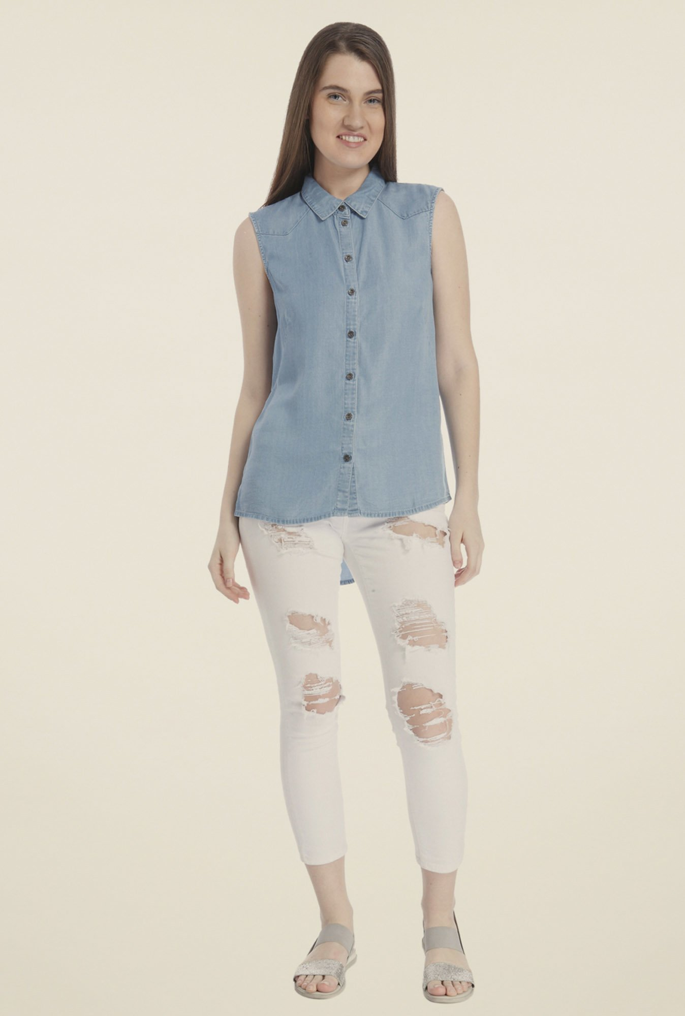 Vero Moda Blue Solid Shirt