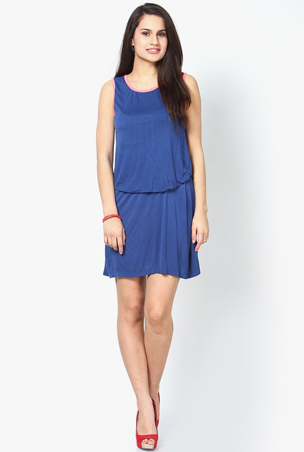 Only Blue Solid Dress