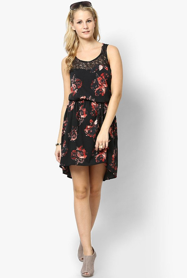 Only Black Printed Sleeveless Dress
