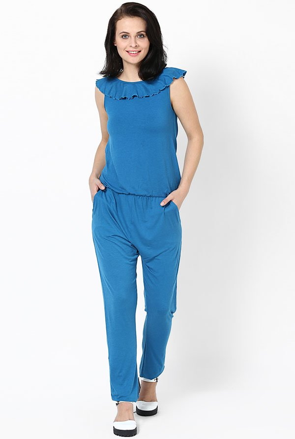 Only Blue Solid Jumpsuit