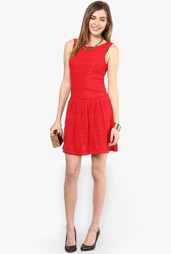 Only Red Lace Dress