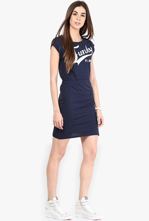 Only Navy Graphic Print Dress