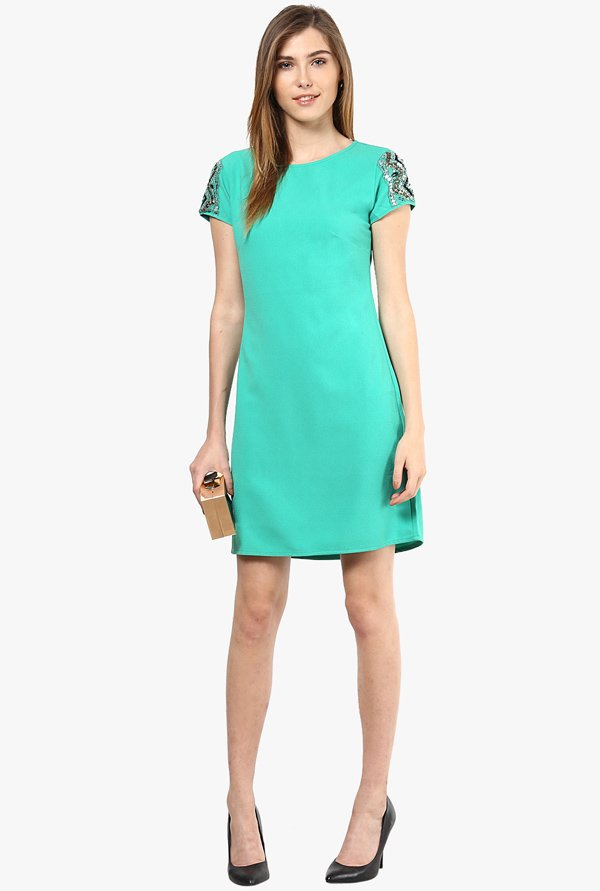 Only Turquoise Solid Dress