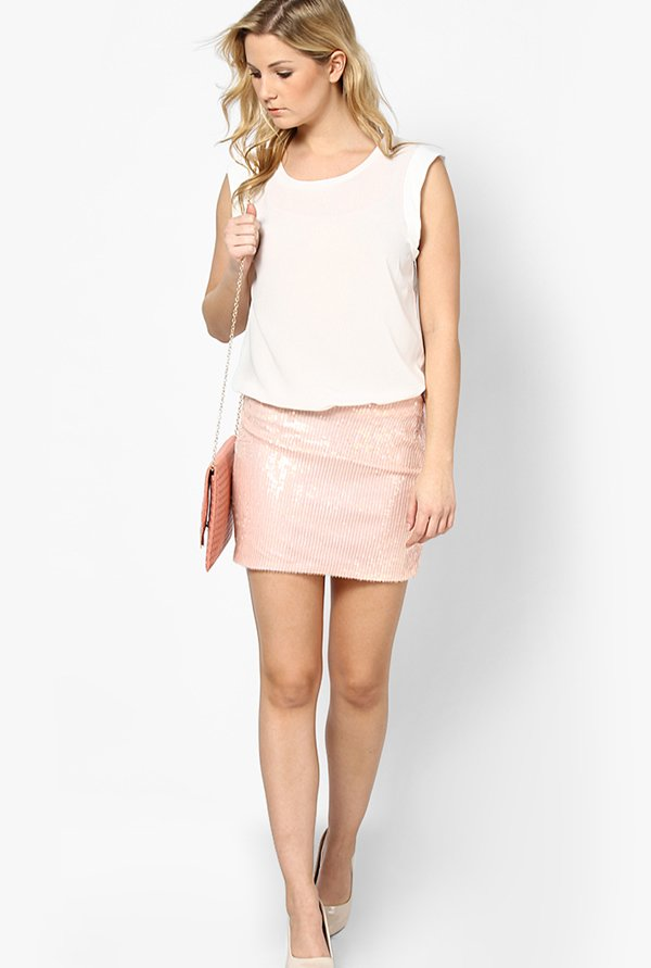 Only Pink Solid Skirt