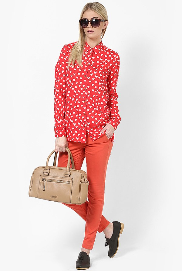 Only Red Heart Print Shirt
