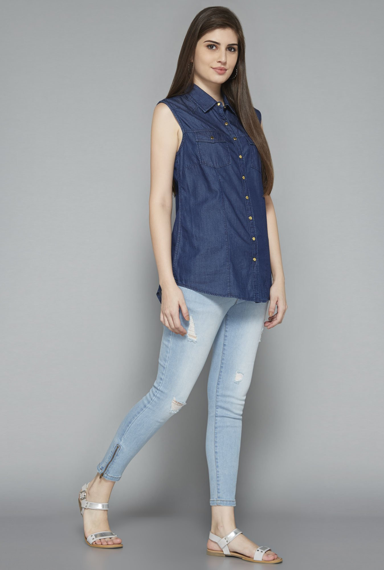 LOV by Westside Navy Sonia Blouse