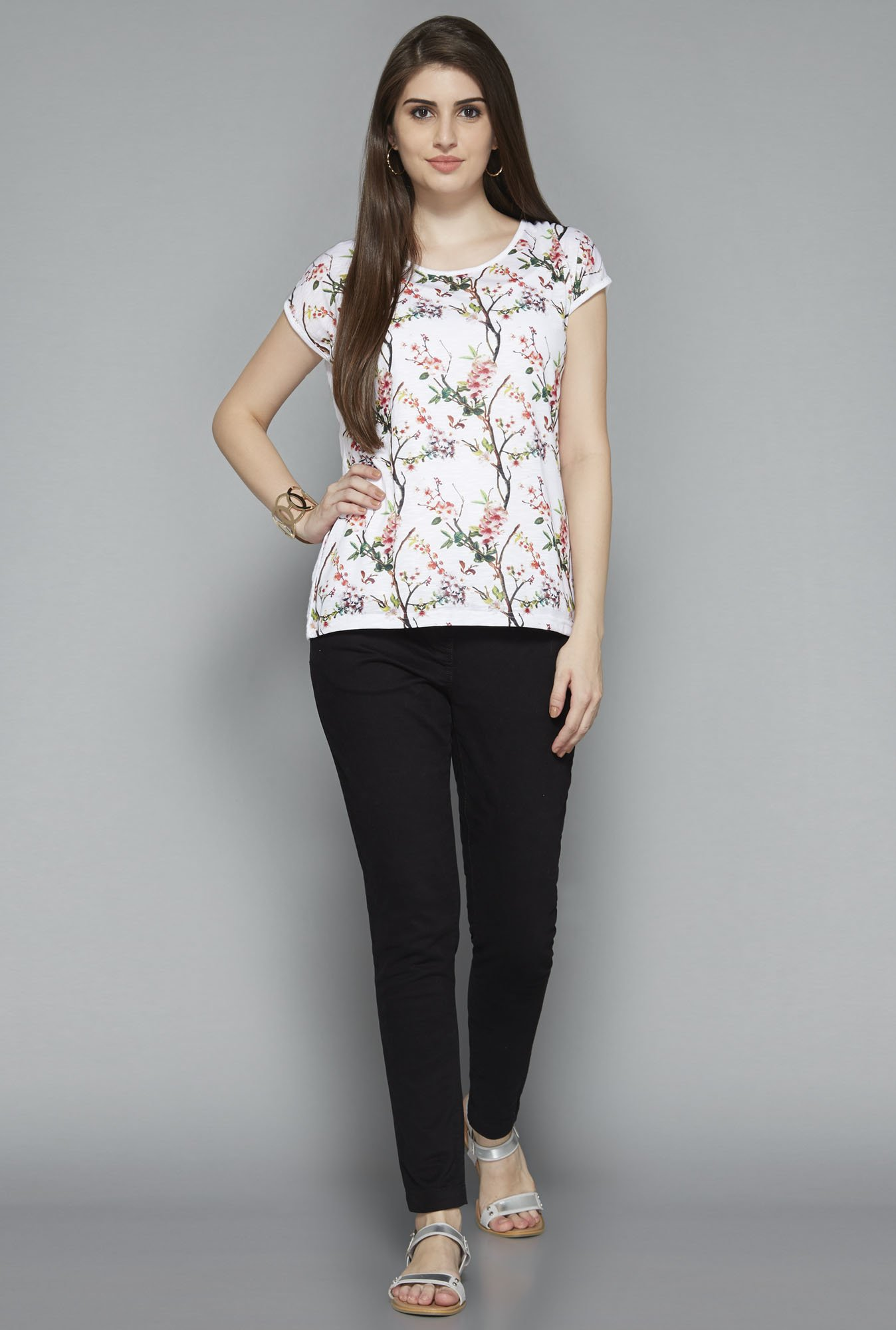 LOV by Westside White Floral Print T Shirt