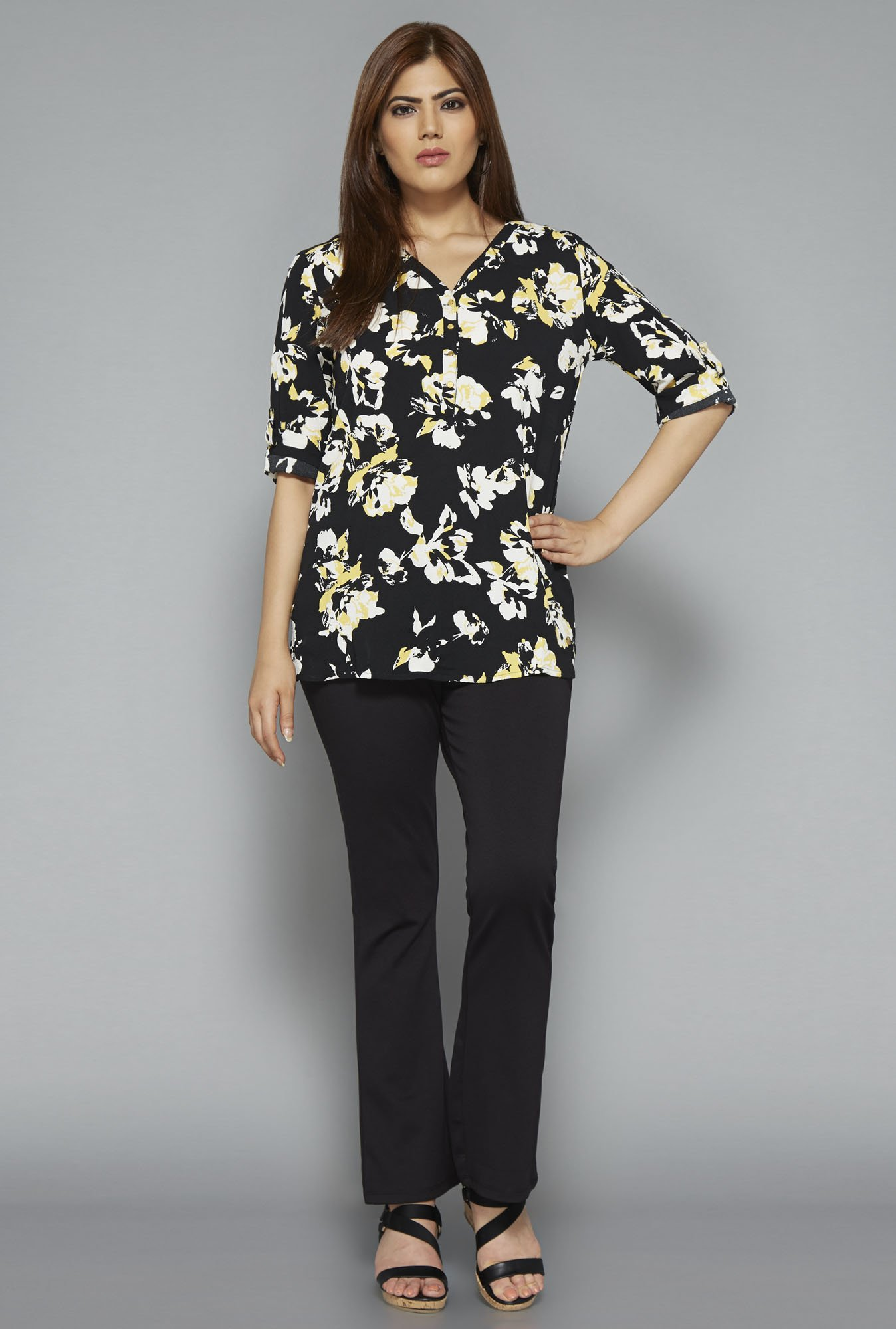 Gia by Westside Black Floral Print Blouse