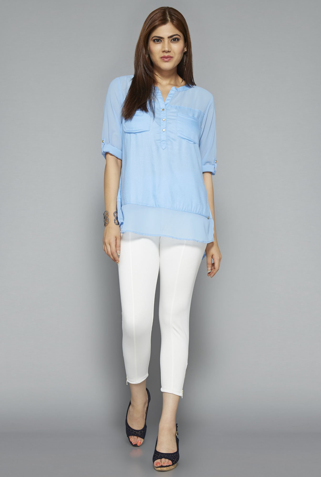 Gia by Westside Blue Solid Blouse
