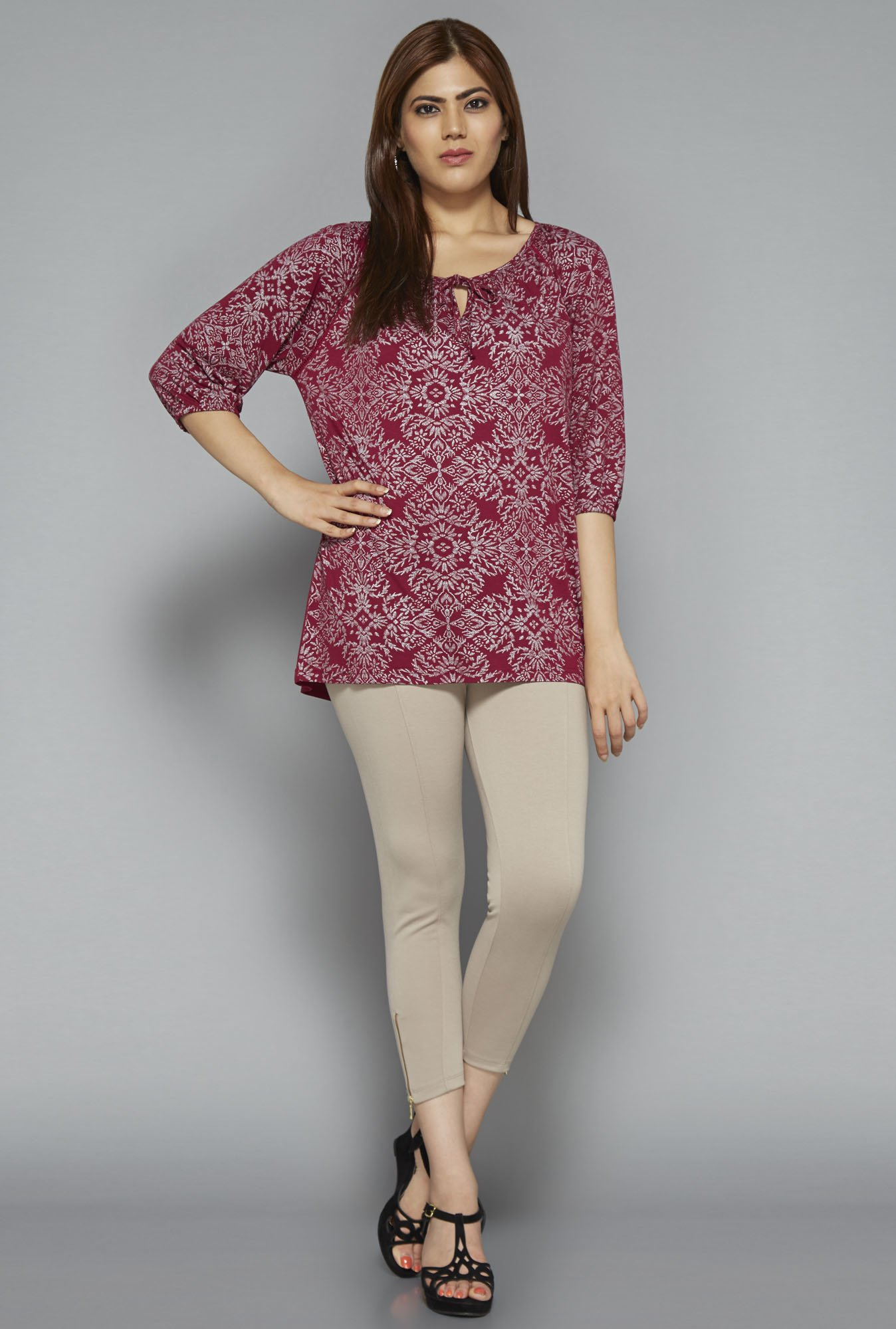 Gia by Westside Maroon Printed Blouse