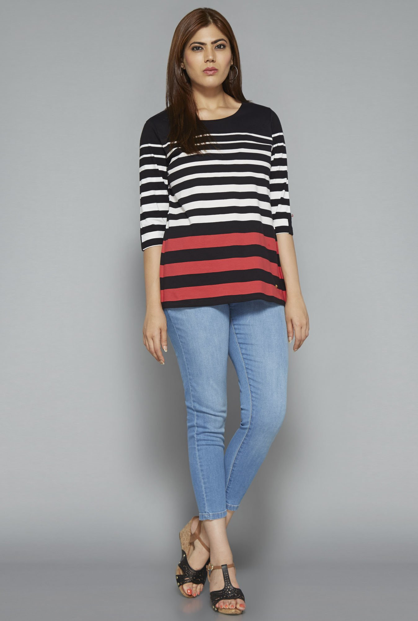 Gia by Westside Black Striped Top