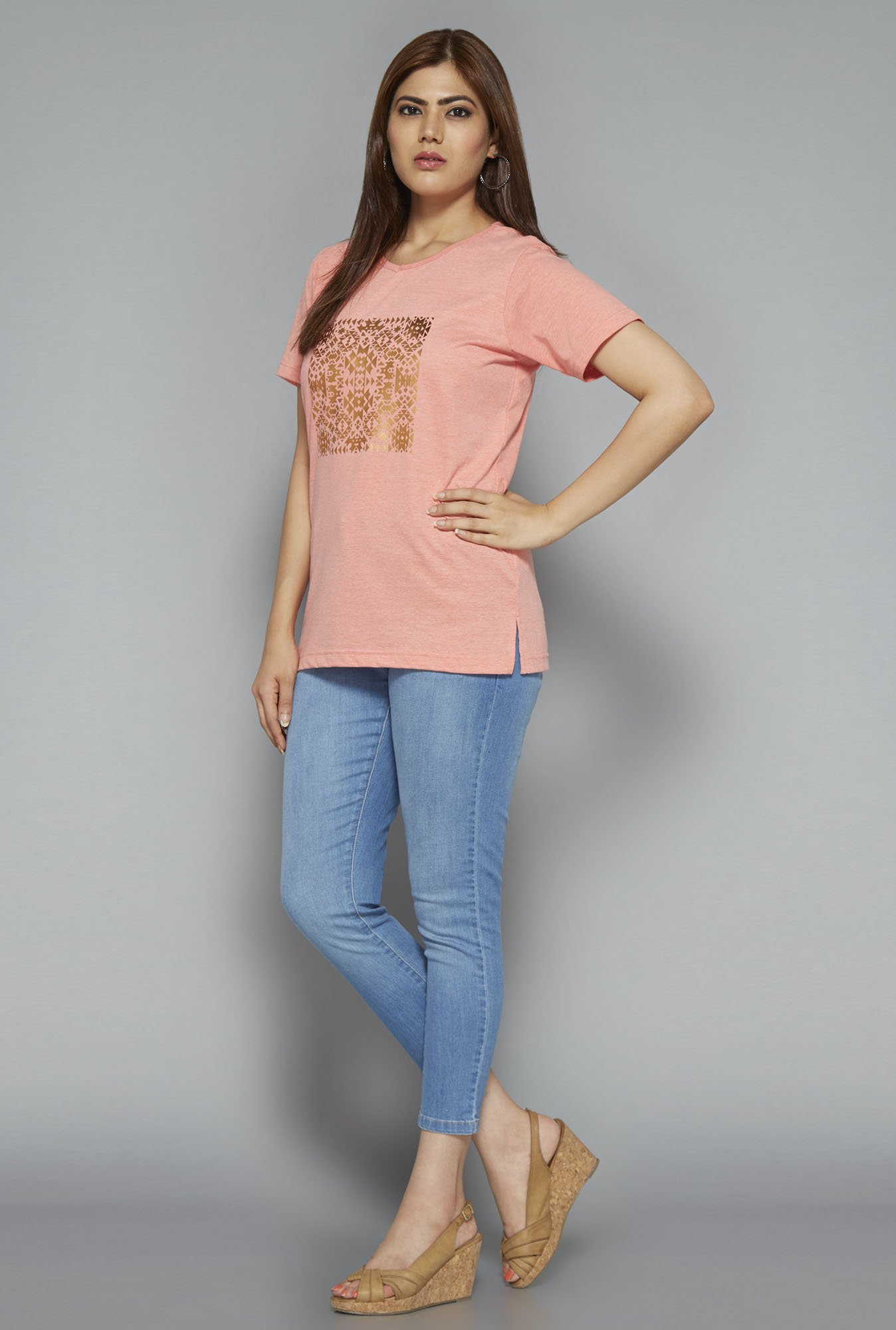Gia by Westside Peach Printed T Shirt