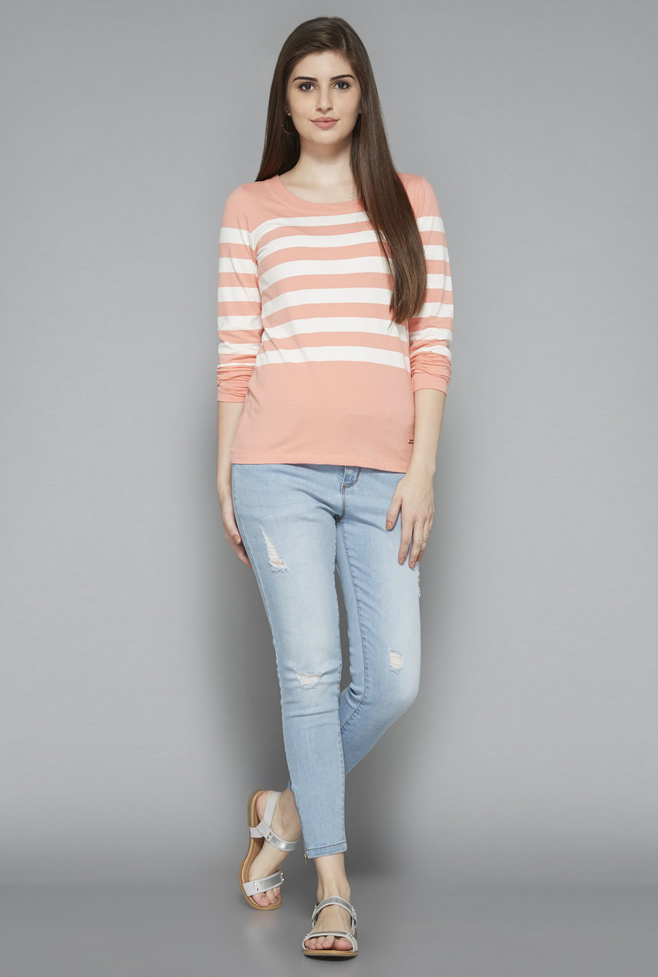 LOV by Westside Peach Striped T Shirt