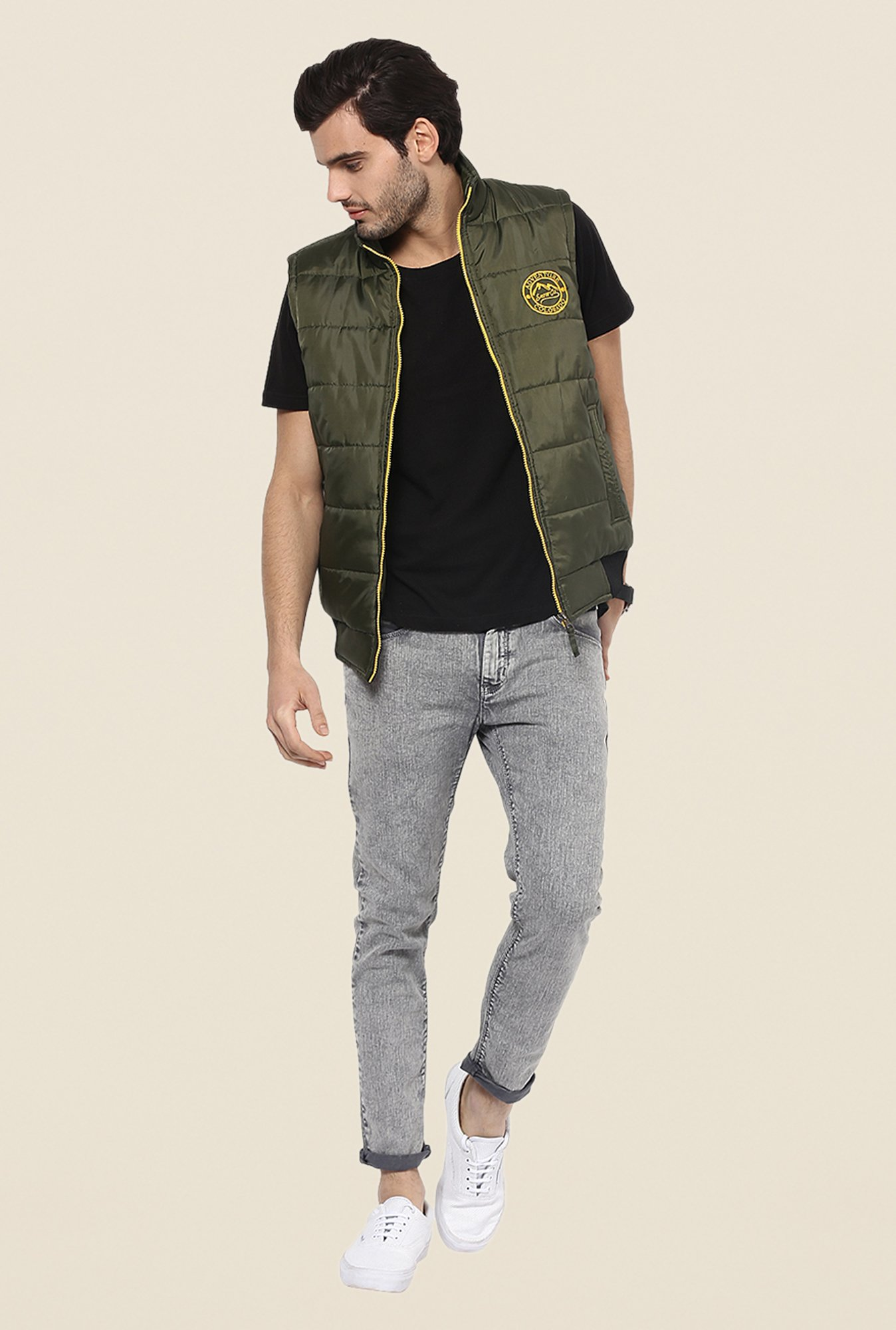 Yepme Edgar Olive Green Sleeveless Jacket