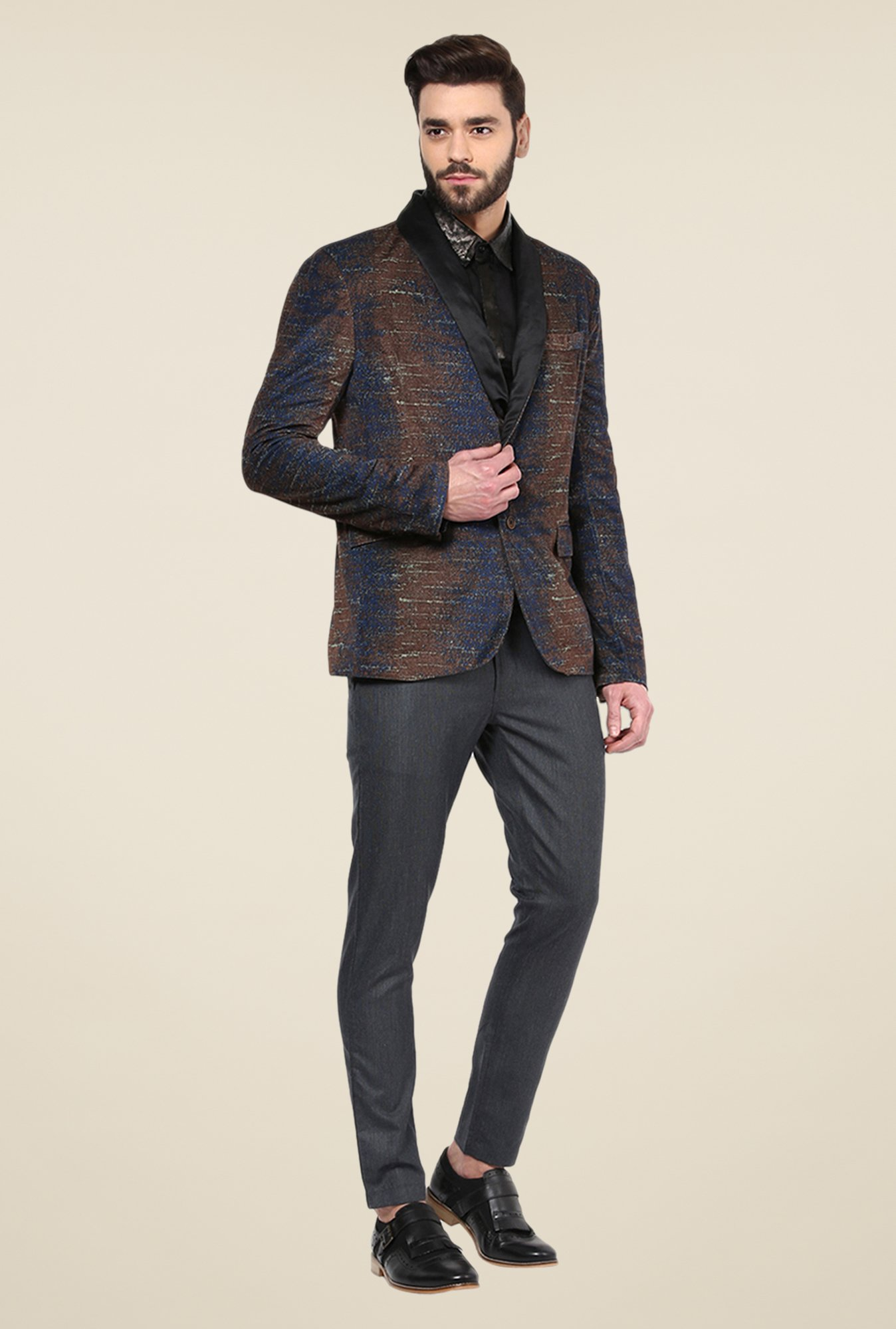 Yepme Bekker Brown & Blue Party Blazer