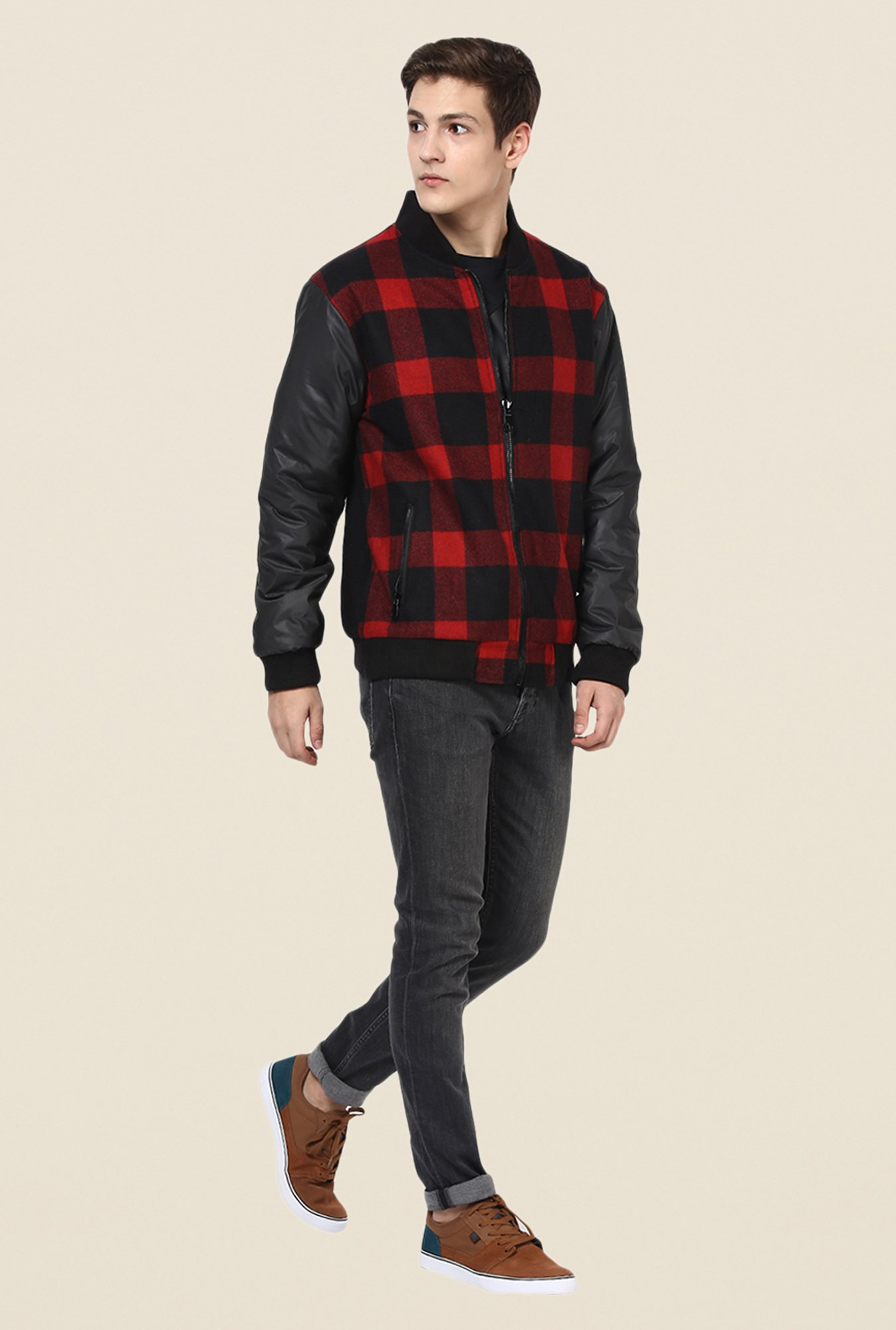 Yepme Stan Red & Black Checked Jacket