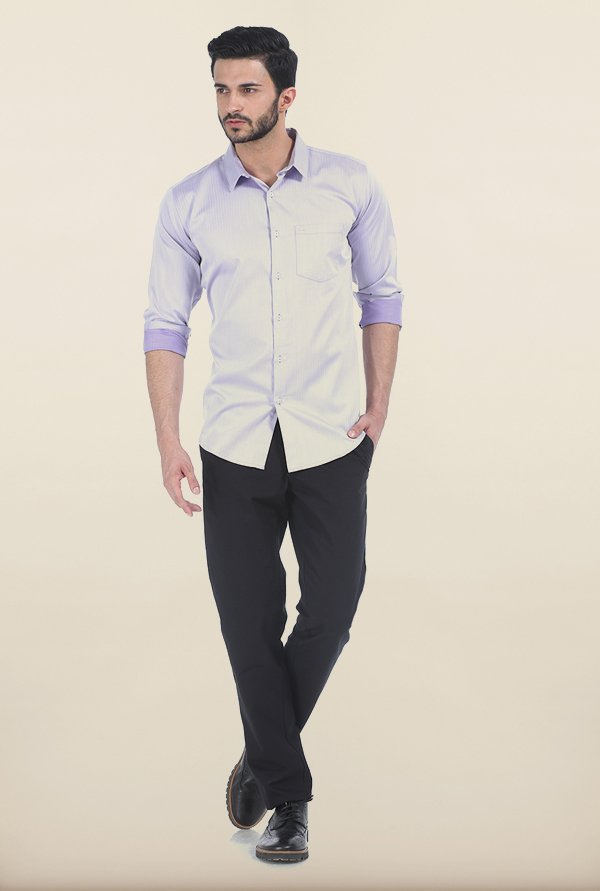 Basics Heirloom Lilac Herringbone Twill Slim Fit Shirt