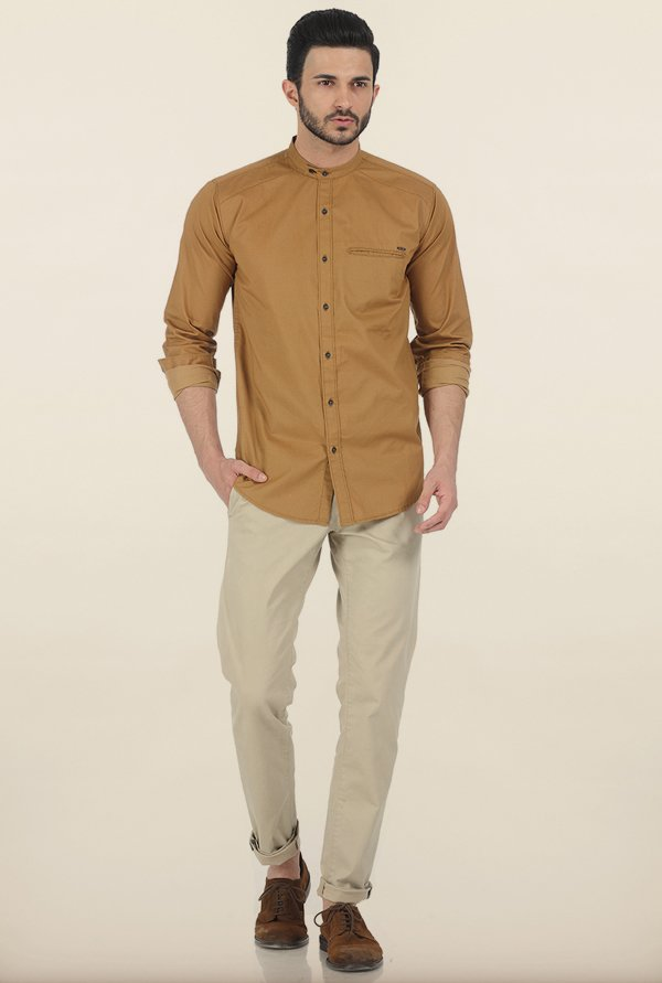 Basics Wood Thrush Fine Twill Slim Fit Shirt