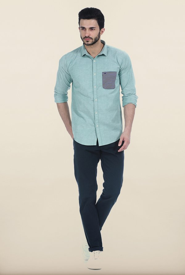 Basics Hemlock Green Oxford Slim Fit Shirt